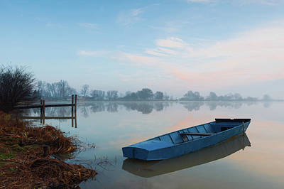 Poster featuring the photograph Blue Boat by Davor Zerjav