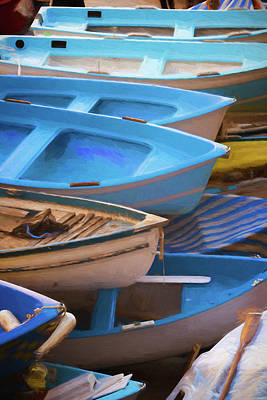 Blue Boats Of Cinque Terre Italy Poster