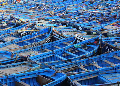 Poster featuring the photograph Blue Boats Of Essaouira by Ramona Johnston