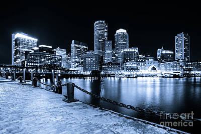 Blue Boston Skyline At Night And Harborwalk Photo Poster