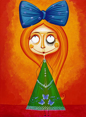 Blue Bow Fire Hair  Poster by Tiberiu Soos