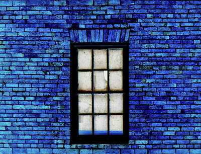 Poster featuring the digital art Blue Brick by Robert Geary
