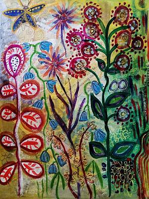 Poster featuring the mixed media Blue Bug In The Magic Garden by Mimulux patricia no No