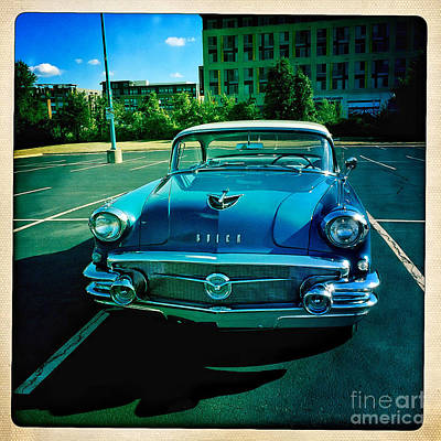 Poster featuring the mixed media Blue Buick by Terry Rowe