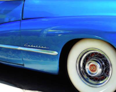 Blue Cadillac - Classic Car Poster by Ann Powell
