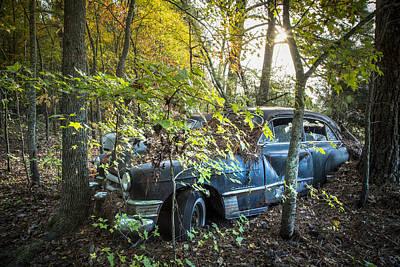 Blue Cadillac Poster by Debra and Dave Vanderlaan
