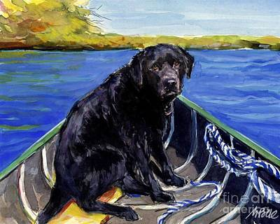 Poster featuring the painting Blue Canoe by Molly Poole