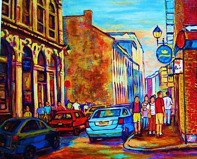 Blue Cars At The Resto Bar Poster by Carole Spandau
