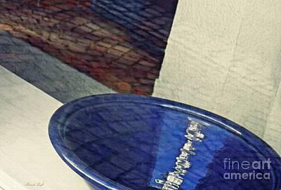 Blue Ceramic Bowl In Eltville 1 Poster by Sarah Loft