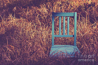 Blue Chair Out In A Field Of Talll Grass Poster