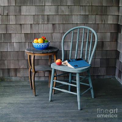 Blue Chair Ped Peach Poster by Georgia Sheron