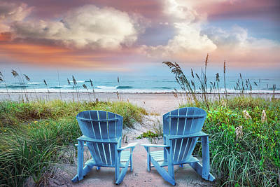 Blue Chairs At The Sea Poster