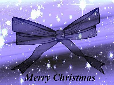 Blue Christmas Bow Poster