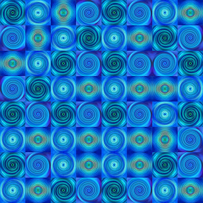 Blue Circles Abstract Art By Sharon Cummings Poster by Sharon Cummings