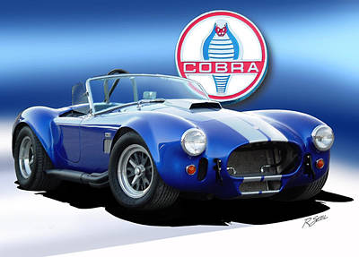 Blue Cobra Poster by Rod Seel
