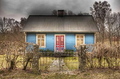 Blue Cottage Poster