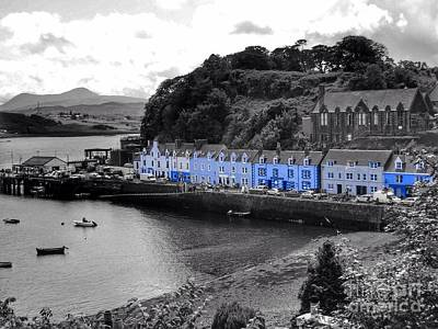 Blue Cottages At Portree Harbour 5 Poster