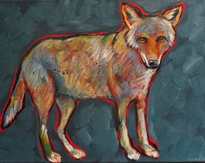 Blue Coyote Santa Fe Style Poster