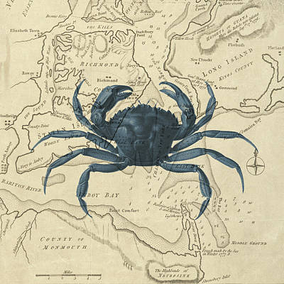 Blue Crab Over Antique Sea Chart Poster