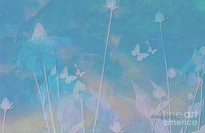 Blue Daisies And Butterflies Poster by Sherri's Of Palm Springs