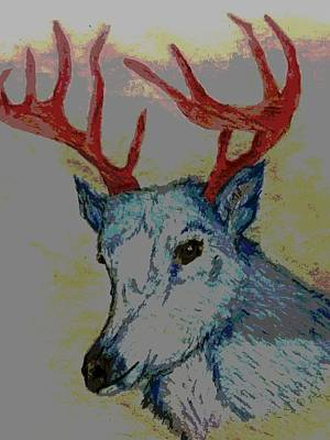 Blue Deer Poster by Sarah Sue C