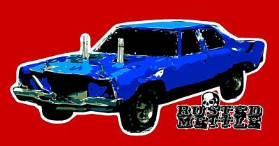 Blue Demo Derby Car Poster by George Randolph Miller