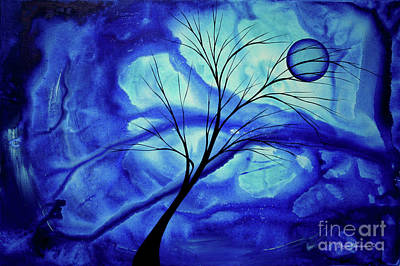 Blue Depth Abstract Original Acrylic Landscape Moon Painting By Megan Duncanson Poster by Megan Duncanson