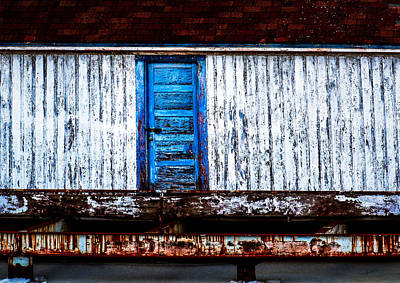 Blue Door Old Mill Building Poster
