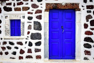 Blue Door Spotted White Building, Santorini, Greece Poster