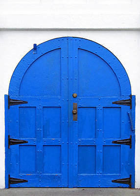 Blue Doors St. Spiridon Orthodox Cathedral Seattle Washington Poster by Richard Singleton