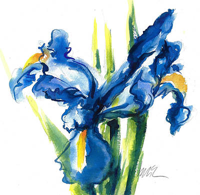 Blue Dutch Iris Flower Painting Poster