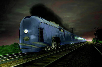 Blue Express Poster by Steven Agius
