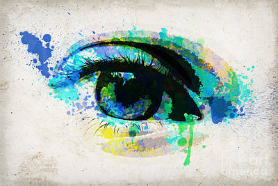 Blue Eye Watercolor Poster by Delphimages Photo Creations