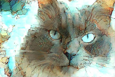 Blue Eyed Persian Cat Watercolor Poster