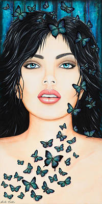 Poster featuring the painting Blue Eyes And Butterflies by Dede Koll
