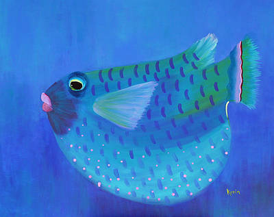 Poster featuring the painting Blue Fish With Pink Lips by Karin Eisermann