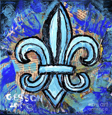 Poster featuring the mixed media Blue Fleur De Lis by Genevieve Esson