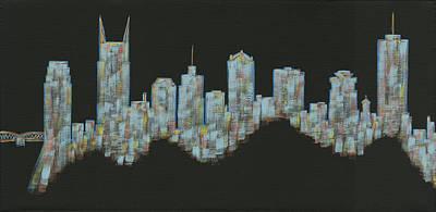 Blue Floating Nashville Skyline Poster by Helen Prater