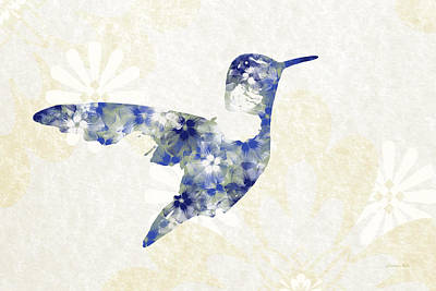 Blue Floral Hummingbird Art Poster