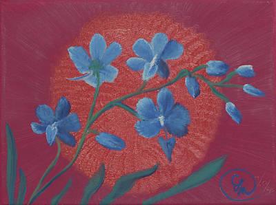 Blue Flower On Magenta Poster