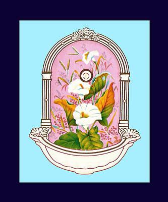 Blue Flower Porcelain Wash Basin One Poster