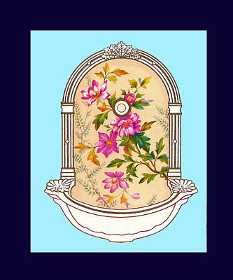 Blue Flower Porcelain Wash Basin Three Poster by Eric Kempson
