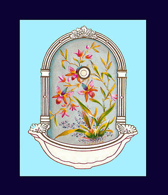 Blue Flower Porcelain Wash Basin Two Poster by Eric Kempson