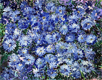 Blue Flowers Poster by Don  Wright