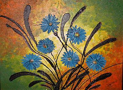 Blue Flowers For True People Poster by Xafira Mendonsa