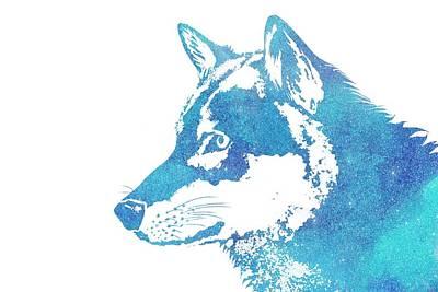 Blue Galaxy Wolf Poster