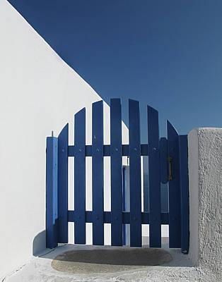 Blue Gate Oia Santorini Poster