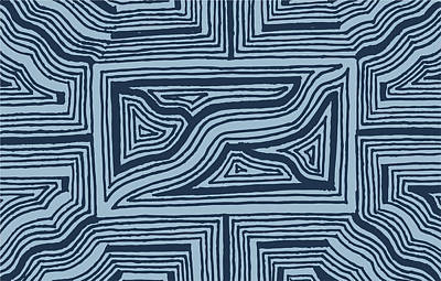 Poster featuring the drawing Blue Geo by Jill Lenzmeier