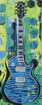 Poster featuring the painting Blue Gibson Guitar by John Gibbs