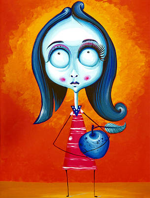 Blue Girl With Blue Apple Poster by Tiberiu Soos